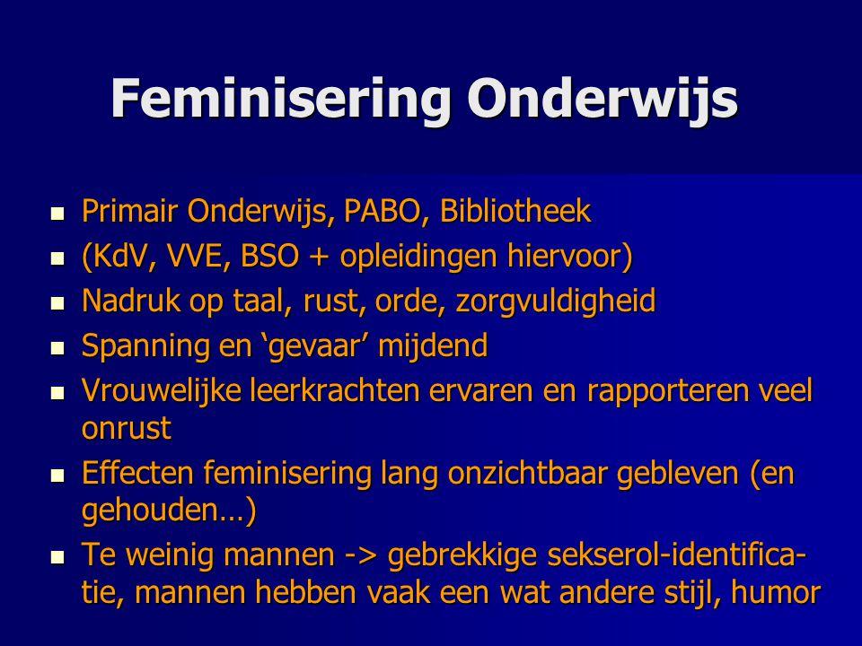 Feminisering Onderwijs Primair Onderwijs, PABO, Bibliotheek Primair Onderwijs, PABO, Bibliotheek (KdV, VVE, BSO + opleidingen hiervoor) (KdV, VVE, BSO