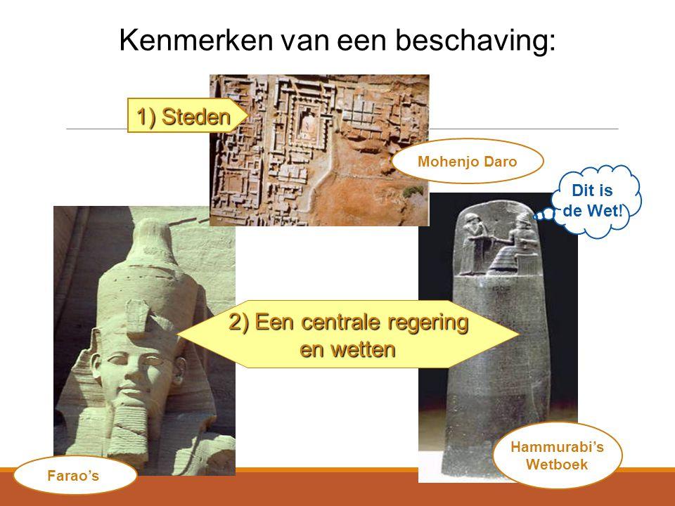 Kenmerken van een beschaving: Mohenjo Daro Hammurabi's Wetboek Dit is de Wet.