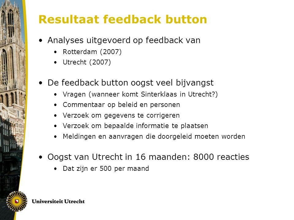 Resultaat feedback button Analyses uitgevoerd op feedback van Rotterdam (2007) Utrecht (2007) De feedback button oogst veel bijvangst Vragen (wanneer