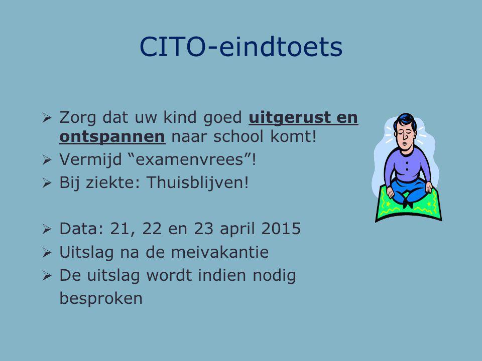 De CITO toets  Entreetoets groep 7: Geeft inzicht in vaardigheden Geeft een verwachte CITO score Voorlopig advies  Eindtoets groep 8: Twee versies G