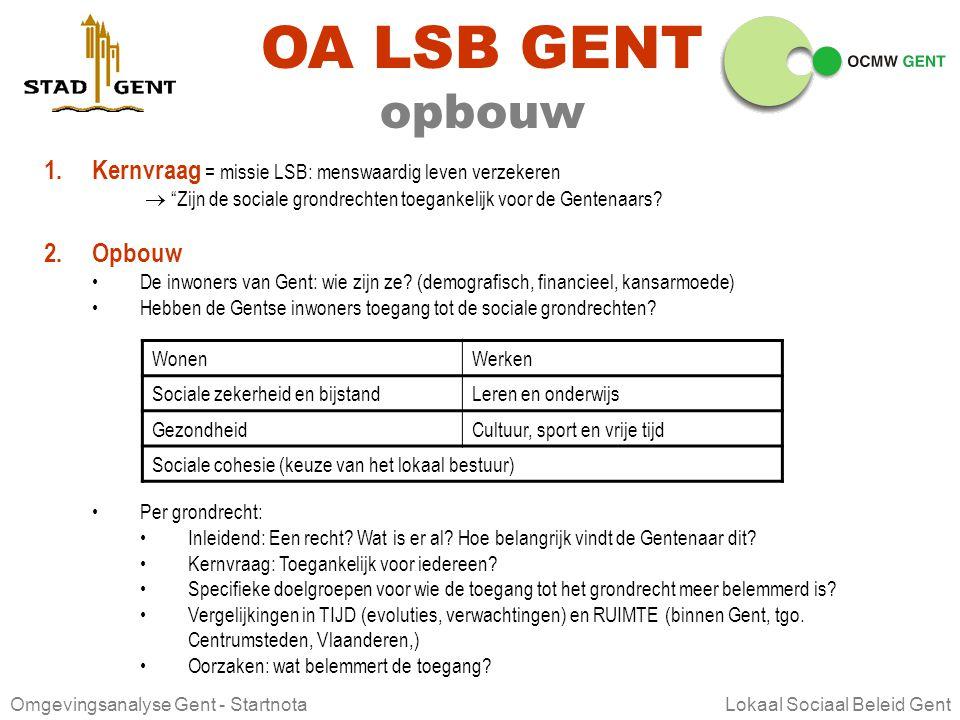 Omgevingsanalyse Gent - Startnota Lokaal Sociaal Beleid Gent ontwerp OMGEVINGSANALYSE In het kader van LOKAAL SOCIAAL BELEID GENT