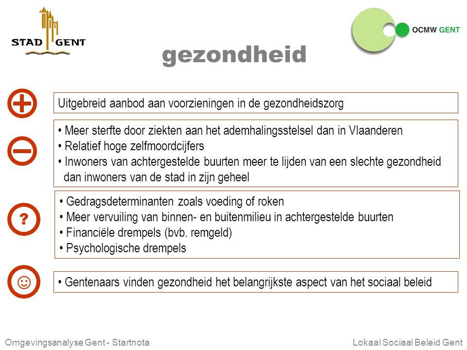 Omgevingsanalyse Gent - Startnota Lokaal Sociaal Beleid Gent werken Gent, Stad in Werking 104 jobs voor elke 100 inwoners op beroepsactieve leeftijd (