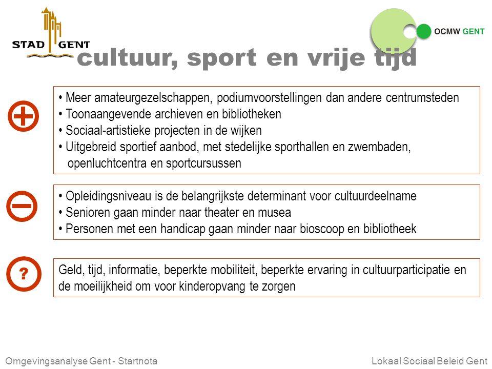 Omgevingsanalyse Gent - Startnota Lokaal Sociaal Beleid Gent leren en onderwijs De Gentse schoolpoorten staan dan ook open voor alle leerplichtigen Oo