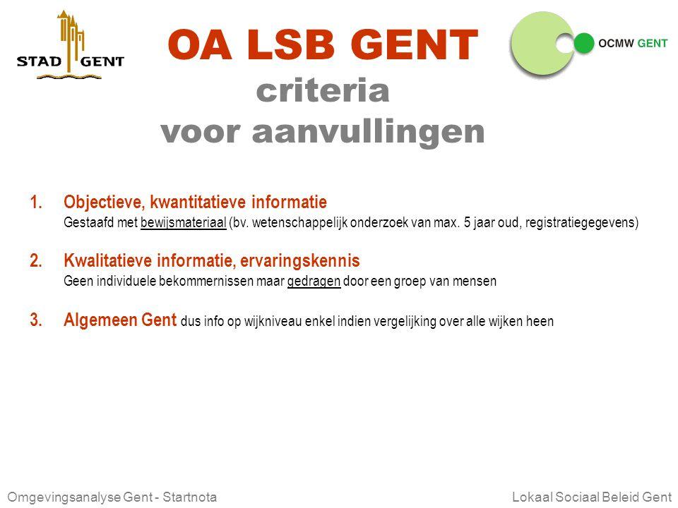 Omgevingsanalyse Gent - Startnota Lokaal Sociaal Beleid Gent OA LSB GENT ter aanvulling Is de informatie juist? Is de informatie volledig? Wat missen
