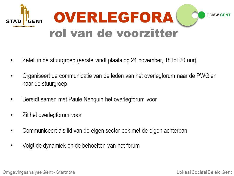 Omgevingsanalyse Gent - Startnota Lokaal Sociaal Beleid Gent OVERLEGFORA werkwijze 1.Communicatie Van de gemandateerden vragen we dat zij terugkoppele