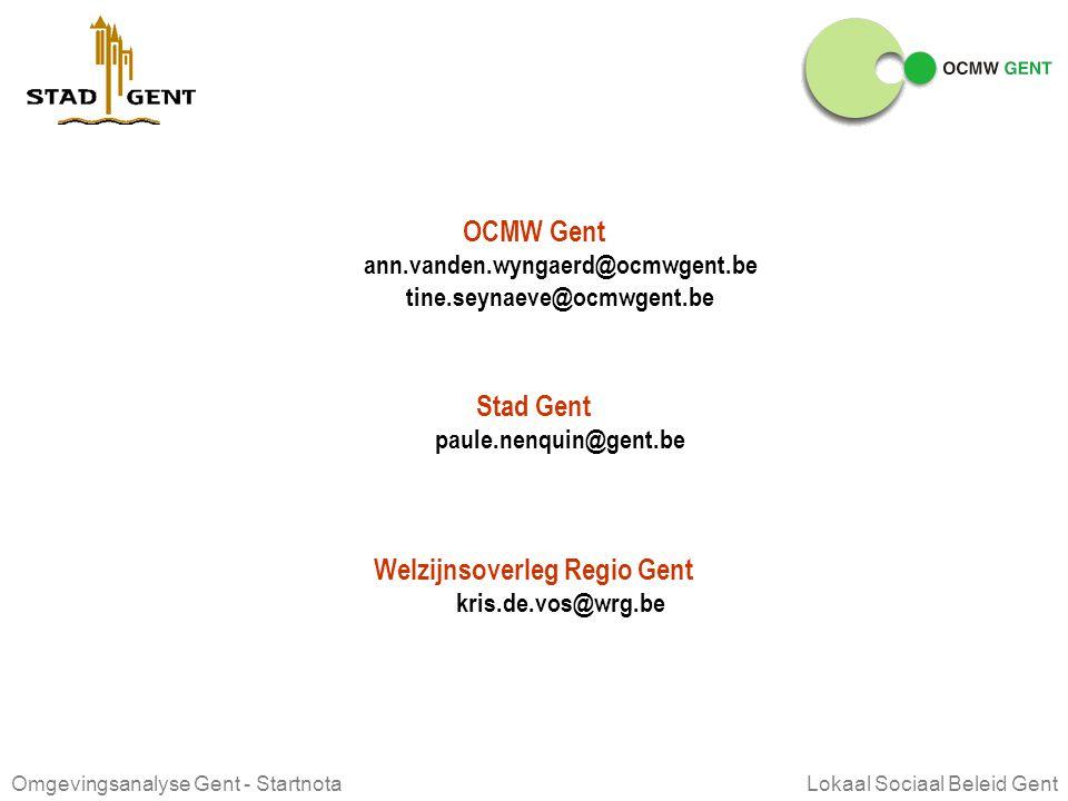 Omgevingsanalyse Gent - Startnota Lokaal Sociaal Beleid Gent OVERLEGFORA rol van de voorzitter Zetelt in de stuurgroep (eerste vindt plaats op 24 nove