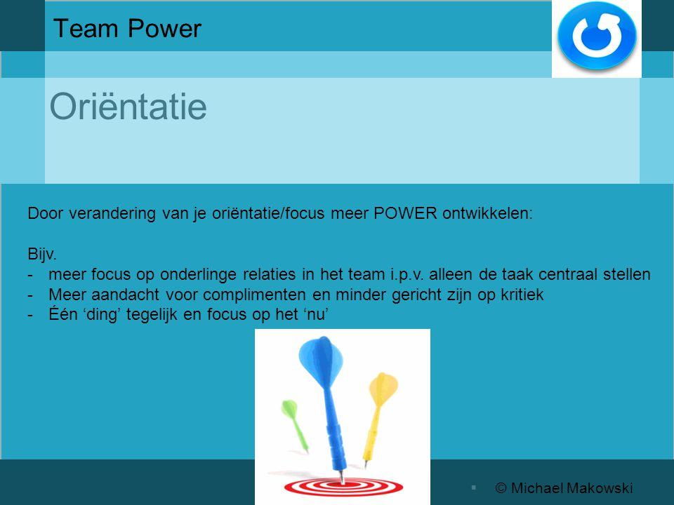  © Michael Makowski Team Power Door verandering van je oriëntatie/focus meer POWER ontwikkelen: Bijv.