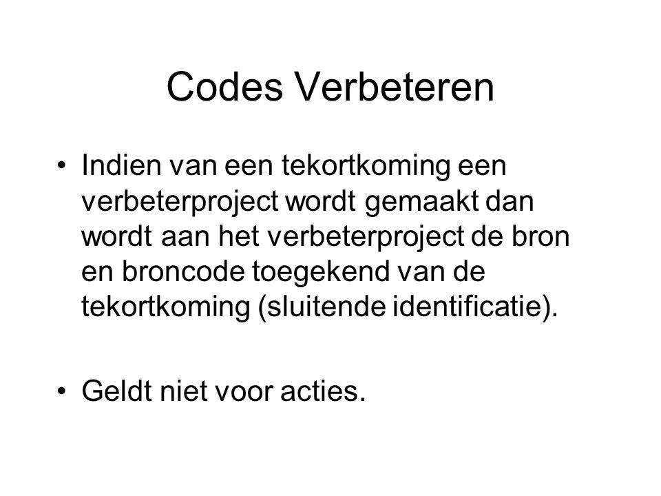 Codes Verbeteren Indien van een tekortkoming een verbeterproject wordt gemaakt dan wordt aan het verbeterproject de bron en broncode toegekend van de tekortkoming (sluitende identificatie).