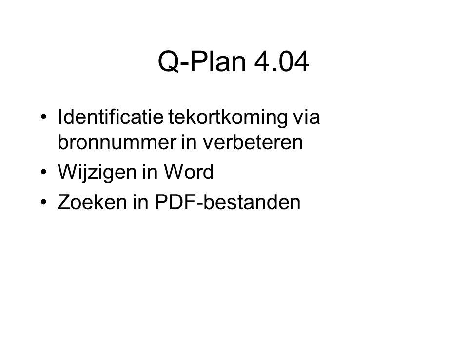 Q-Plan 4.04 Identificatie tekortkoming via bronnummer in verbeteren Wijzigen in Word Zoeken in PDF-bestanden