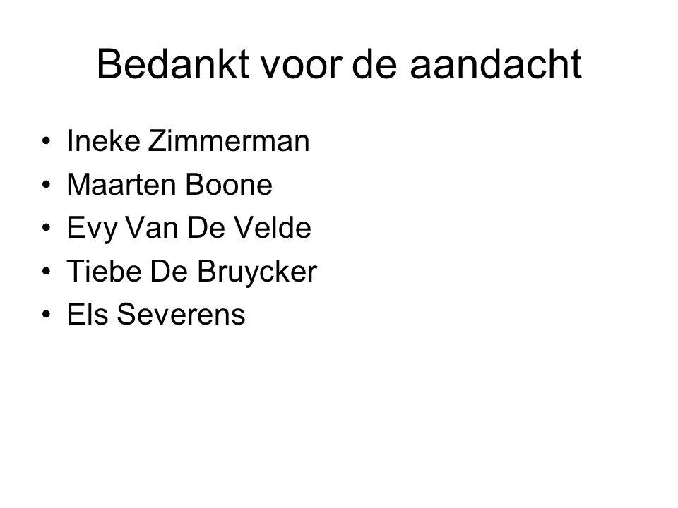 Bedankt voor de aandacht Ineke Zimmerman Maarten Boone Evy Van De Velde Tiebe De Bruycker Els Severens