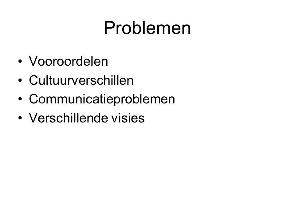Problemen Vooroordelen Cultuurverschillen Communicatieproblemen Verschillende visies