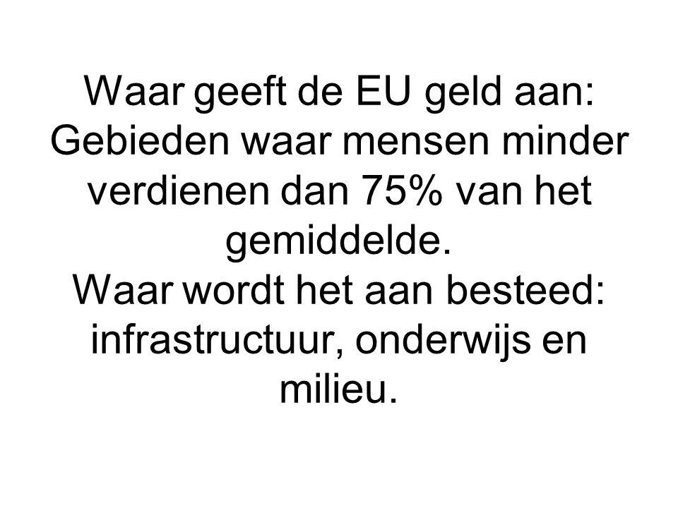 Waar geeft de EU geld aan: Gebieden waar mensen minder verdienen dan 75% van het gemiddelde.