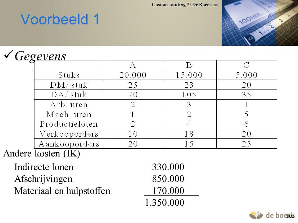 Cost accounting © De Boeck nv 103 Voorbeeld 1 Gegevens Andere kosten (IK) Indirecte lonen330.000 Afschrijvingen850.000 Materiaal en hulpstoffen170.000