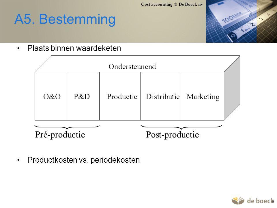 Cost accounting © De Boeck nv 18 A5. Bestemming Plaats binnen waardeketen Productkosten vs. periodekosten O&O P&D Productie Distributie Marketing Onde