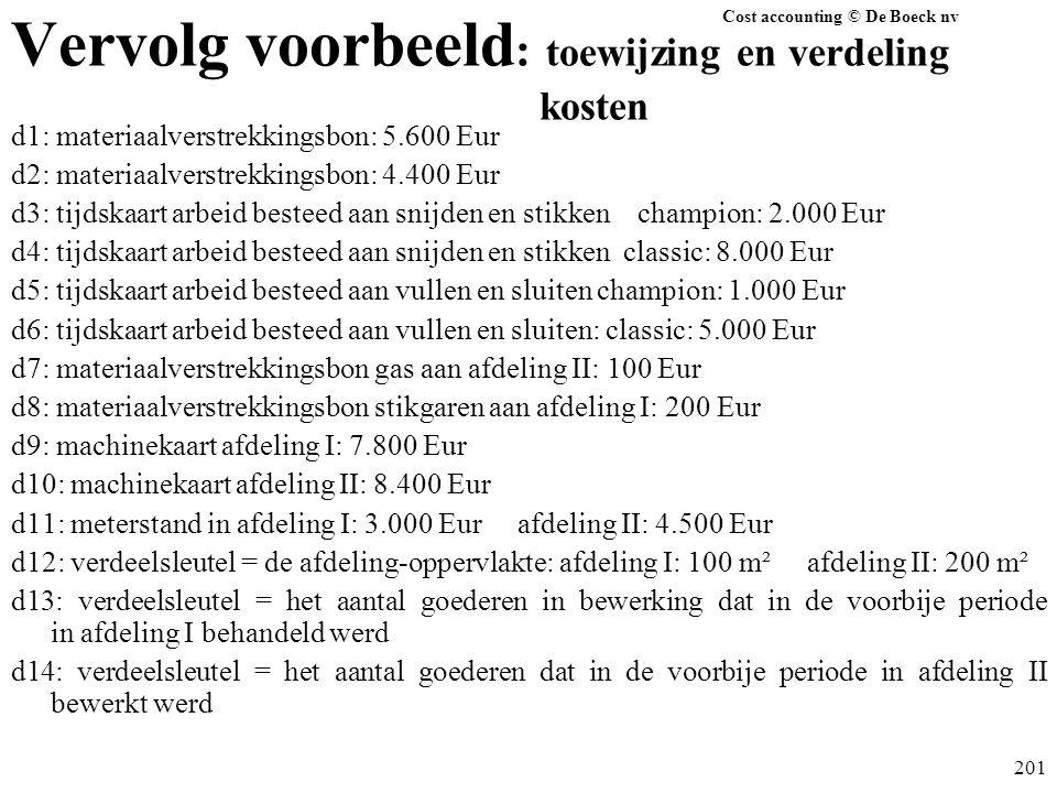 Cost accounting © De Boeck nv 201 Vervolg voorbeeld : toewijzing en verdeling kosten d1: materiaalverstrekkingsbon: 5.600 Eur d2: materiaalverstrekkin