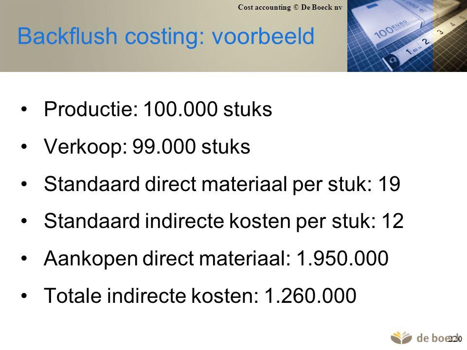 Cost accounting © De Boeck nv 220 Backflush costing: voorbeeld Productie: 100.000 stuks Verkoop: 99.000 stuks Standaard direct materiaal per stuk: 19