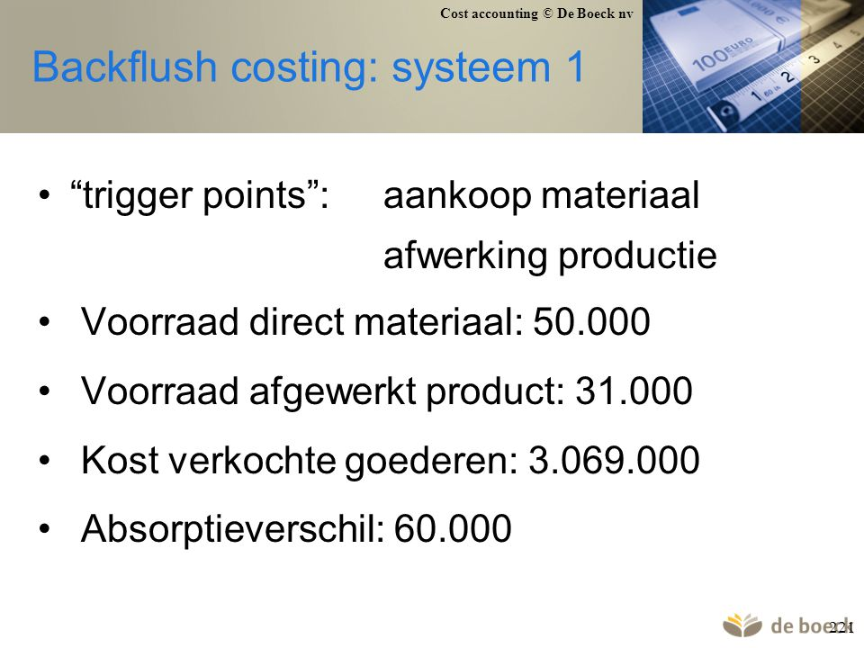 Cost accounting © De Boeck nv 221 Backflush costing: systeem 1 trigger points :aankoop materiaal afwerking productie Voorraad direct materiaal: 50.000 Voorraad afgewerkt product: 31.000 Kost verkochte goederen: 3.069.000 Absorptieverschil: 60.000
