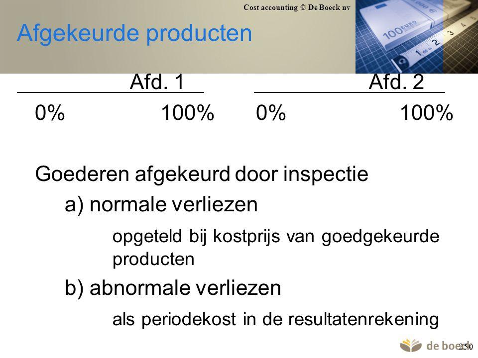 Cost accounting © De Boeck nv 250 Afgekeurde producten Afd. 1 Afd. 2 0%100%0%100% Goederen afgekeurd door inspectie a) normale verliezen opgeteld bij