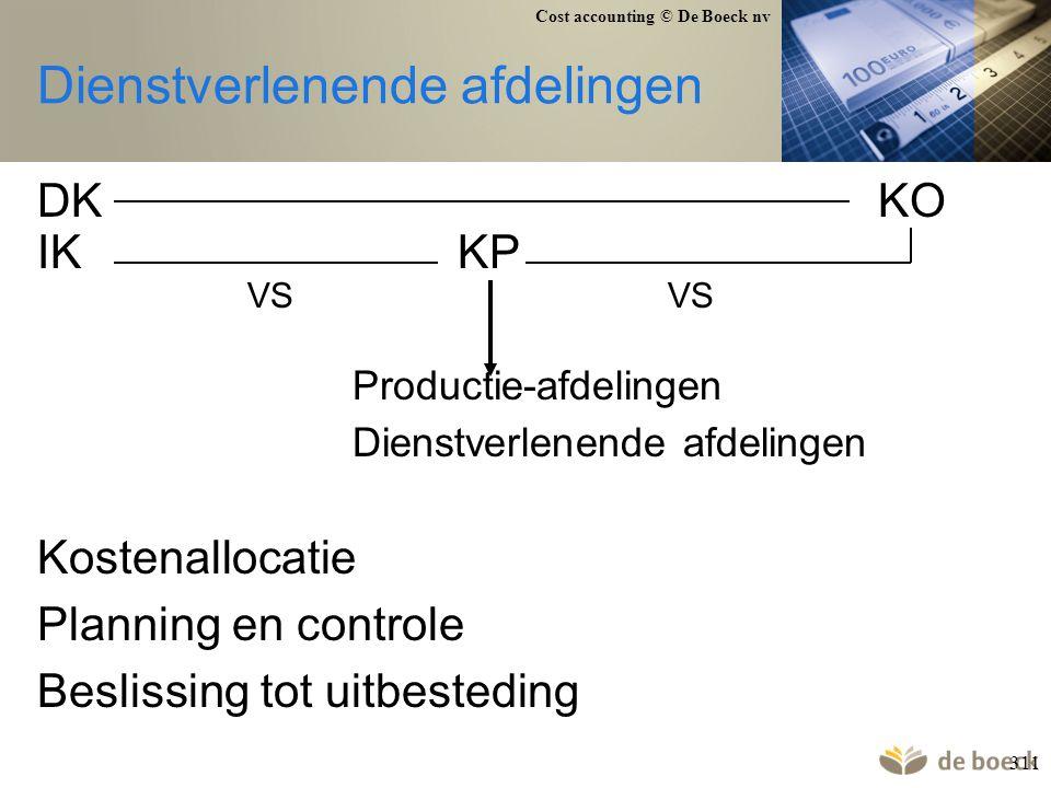 Cost accounting © De Boeck nv 311 Dienstverlenende afdelingen DKKO IKKP VSVS Productie-afdelingen Dienstverlenende afdelingen Kostenallocatie Planning