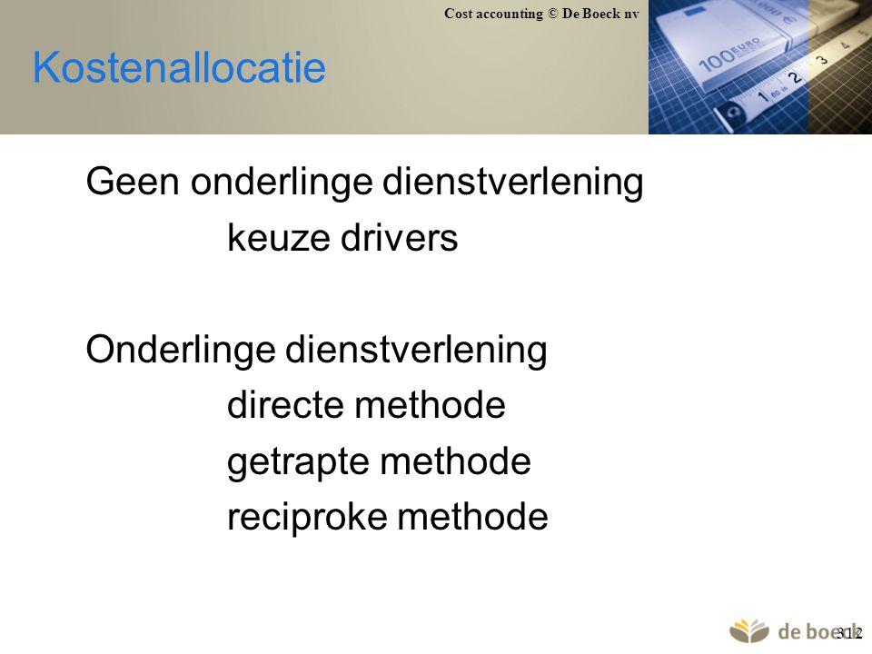 Cost accounting © De Boeck nv 312 Kostenallocatie Geen onderlinge dienstverlening keuze drivers Onderlinge dienstverlening directe methode getrapte me