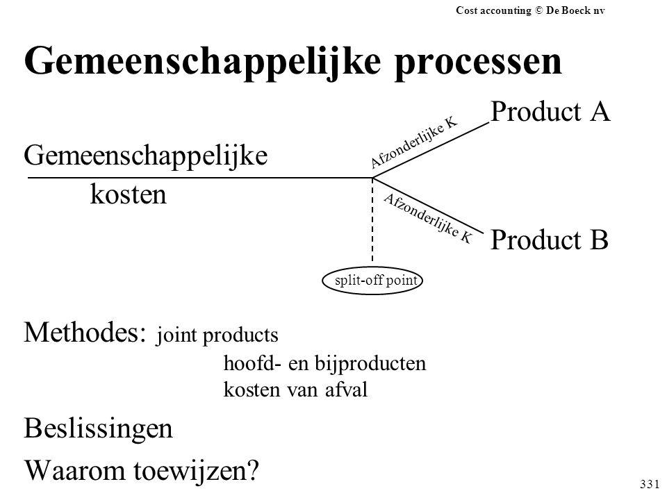 Cost accounting © De Boeck nv 331 Gemeenschappelijke processen Product A Gemeenschappelijke kosten Product B split-off point Methodes: joint products