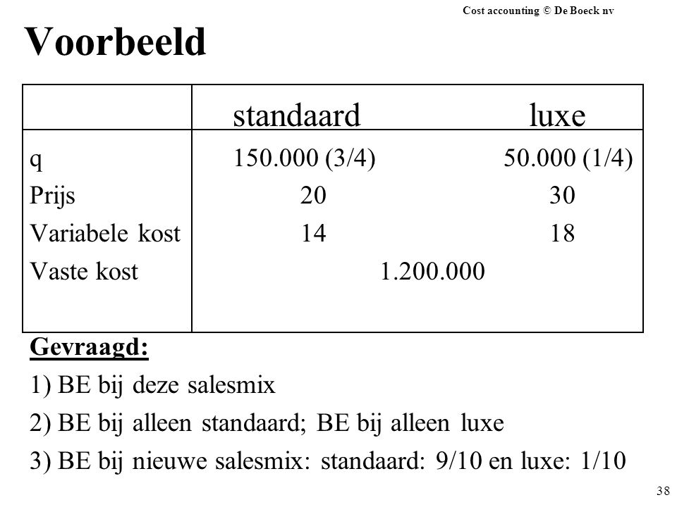 Cost accounting © De Boeck nv 38 Voorbeeld standaard luxe q150.000 (3/4)50.000 (1/4) Prijs20 30 Variabele kost14 18 Vaste kost 1.200.000 Gevraagd: 1)