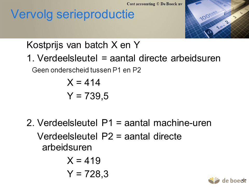 Cost accounting © De Boeck nv 57 Vervolg serieproductie Kostprijs van batch X en Y 1. Verdeelsleutel = aantal directe arbeidsuren Geen onderscheid tus
