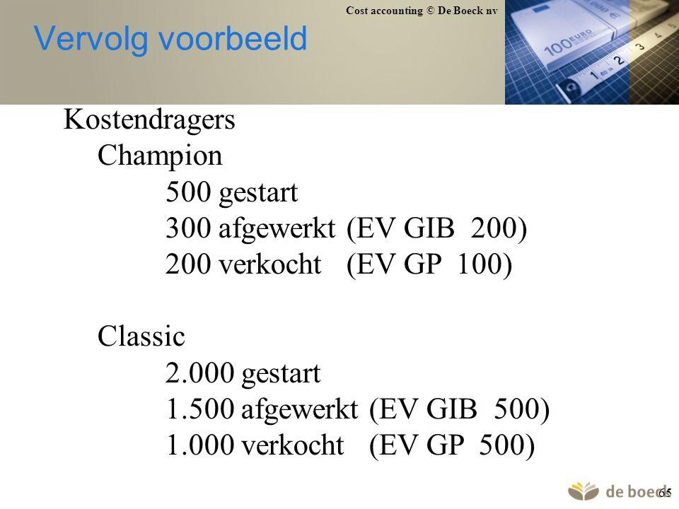 Cost accounting © De Boeck nv 65 Vervolg voorbeeld Kostendragers Champion 500 gestart 300 afgewerkt (EV GIB 200) 200 verkocht (EV GP 100) Classic 2.00