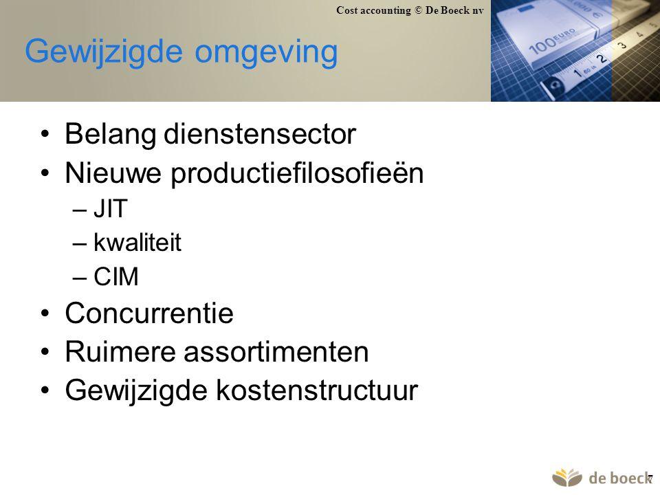Cost accounting © De Boeck nv 78 Voorbeeld stukproductie Kostensoorten Direct materiaal (D) 6.250 Directe arbeid (D) 1.750 Stikgaren (I) 50 Afschrijvingen (I) 5.000 Loon zaakvoerder (I) 1.000 Verwarming + verlichting (I) 250 Kostendragers stof (m²) arbeidsurenmachine-uren B1 30 17 20 B2 25 14 15 B3 20 10 14 B4 40 23 21 B5 10 6 10 Totaal 125 70 80 stof: 50 EUR/m² arbeid: 25 EUR/uur