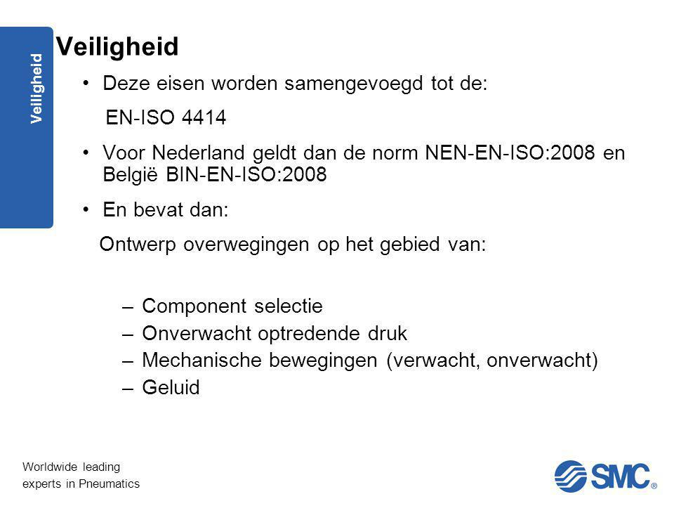 Worldwide leading experts in Pneumatics Veiligheid Deze eisen worden samengevoegd tot de: EN-ISO 4414 Voor Nederland geldt dan de norm NEN-EN-ISO:2008