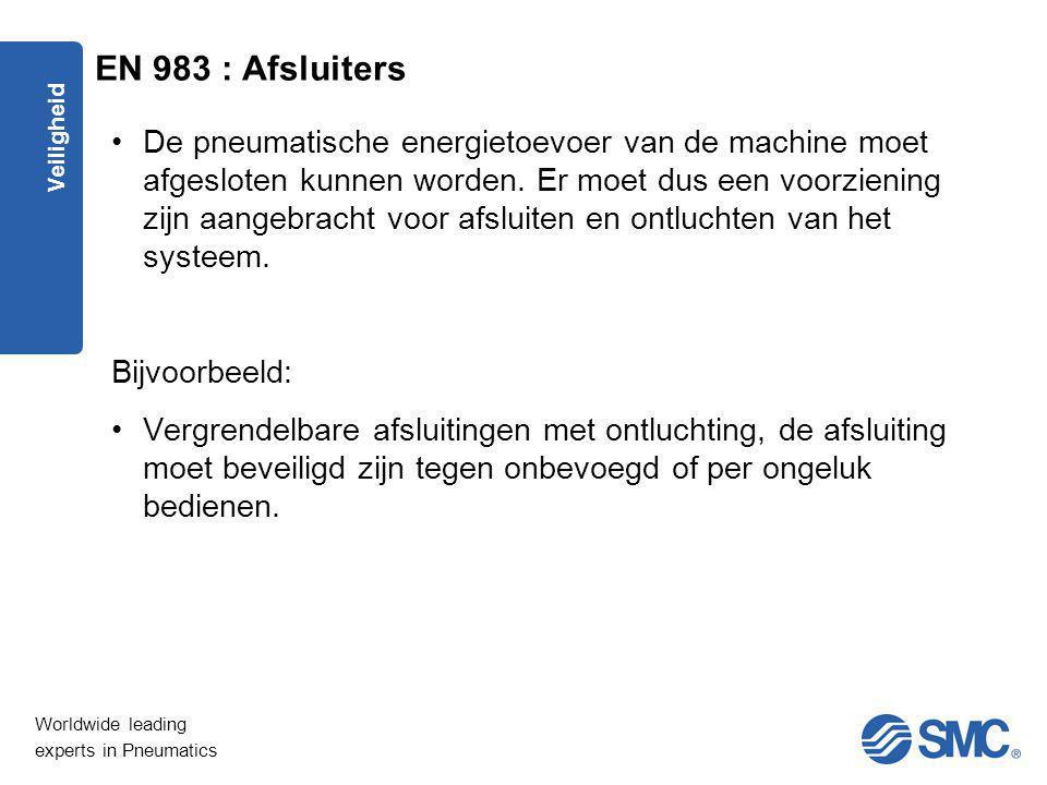 Worldwide leading experts in Pneumatics Veiligheid De pneumatische energietoevoer van de machine moet afgesloten kunnen worden. Er moet dus een voorzi