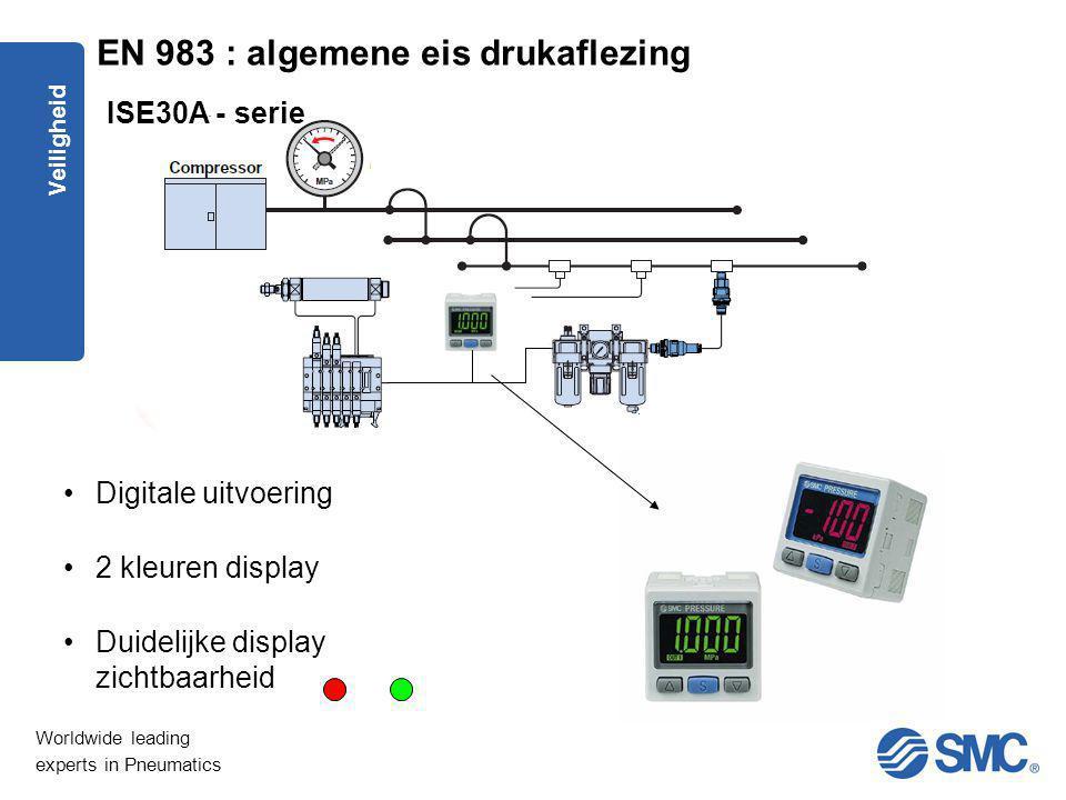 Worldwide leading experts in Pneumatics Veiligheid Digitale uitvoering 2 kleuren display Duidelijke display zichtbaarheid ISE30A - serie EN 983 : alge