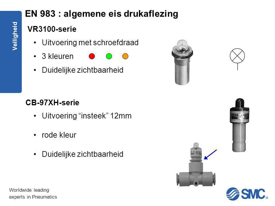Worldwide leading experts in Pneumatics Veiligheid Uitvoering met schroefdraad 3 kleuren Duidelijke zichtbaarheid VR3100-serie CB-97XH-serie Uitvoerin