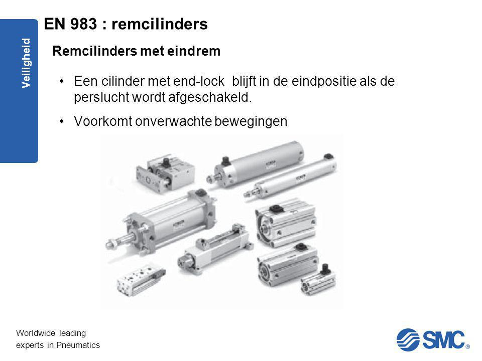 Worldwide leading experts in Pneumatics Veiligheid Een cilinder met end-lock blijft in de eindpositie als de perslucht wordt afgeschakeld. Voorkomt on