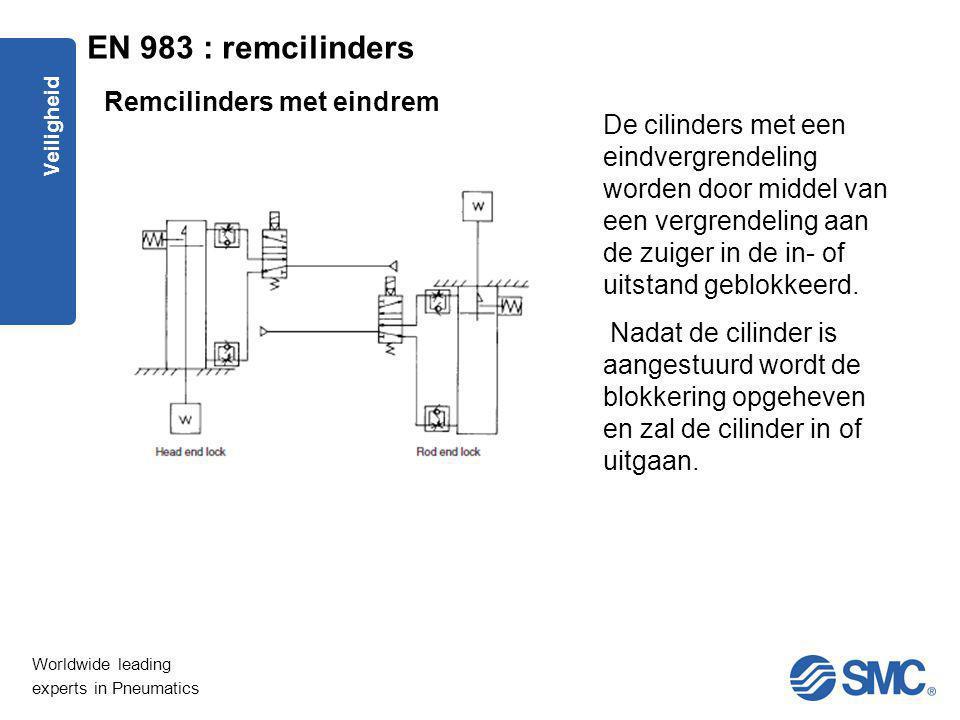 Worldwide leading experts in Pneumatics Veiligheid De cilinders met een eindvergrendeling worden door middel van een vergrendeling aan de zuiger in de