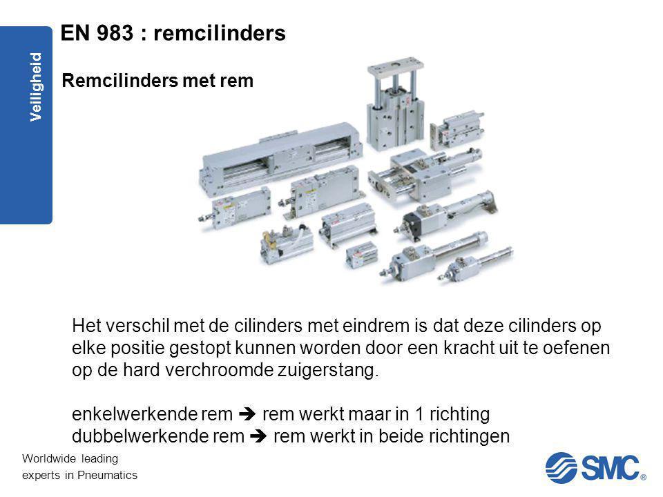 Worldwide leading experts in Pneumatics Veiligheid Het verschil met de cilinders met eindrem is dat deze cilinders op elke positie gestopt kunnen word