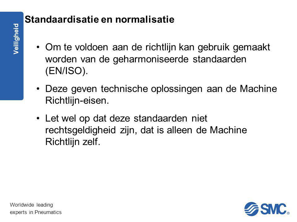 Worldwide leading experts in Pneumatics Veiligheid Om te voldoen aan de richtlijn kan gebruik gemaakt worden van de geharmoniseerde standaarden (EN/IS
