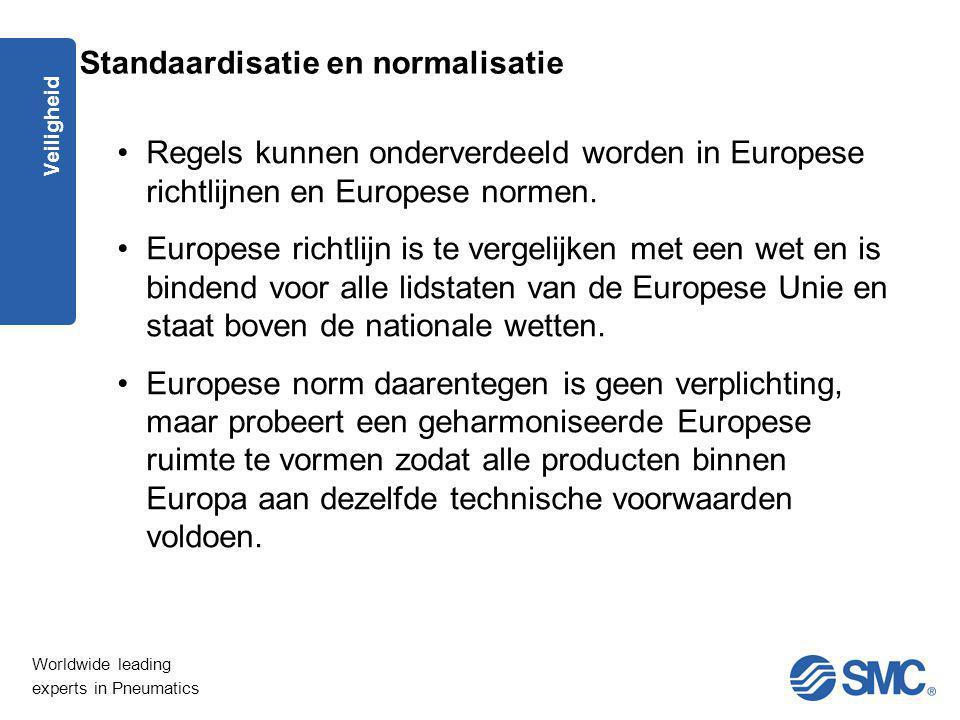 Worldwide leading experts in Pneumatics Veiligheid Regels kunnen onderverdeeld worden in Europese richtlijnen en Europese normen. Europese richtlijn i