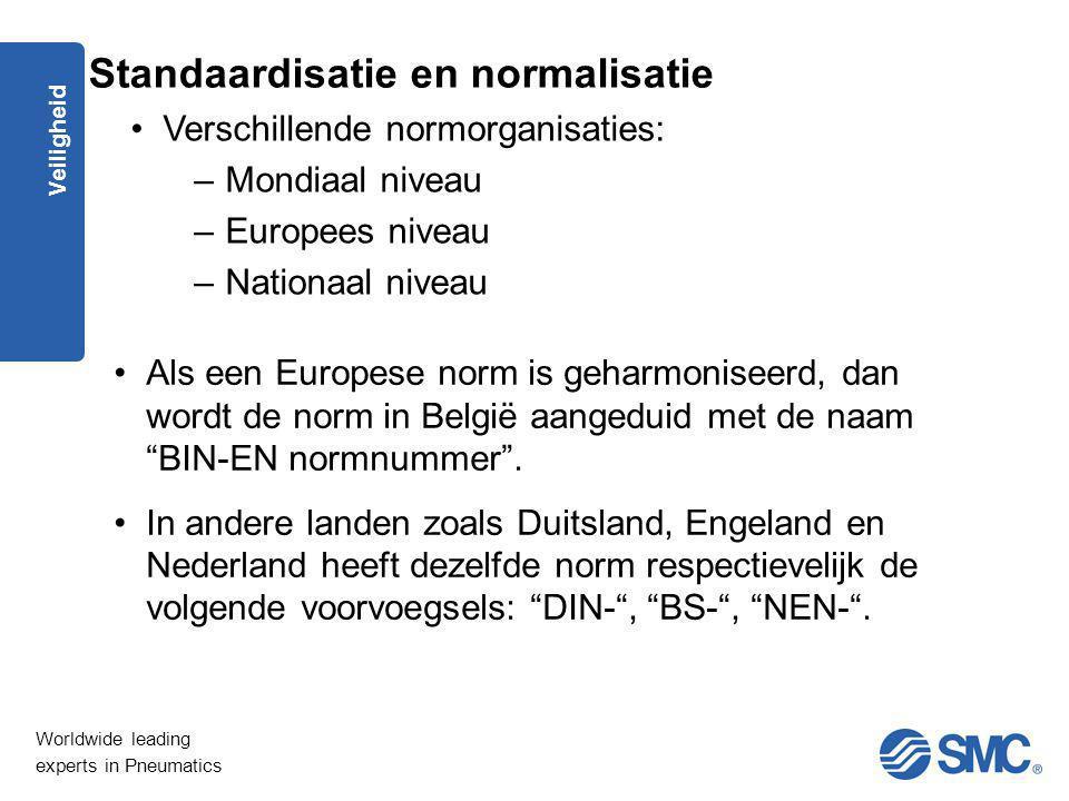 """Worldwide leading experts in Pneumatics Veiligheid Als een Europese norm is geharmoniseerd, dan wordt de norm in België aangeduid met de naam """"BIN-EN"""