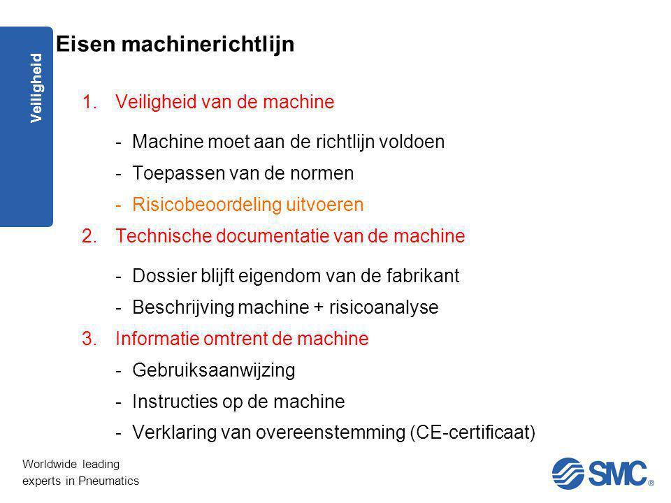 Worldwide leading experts in Pneumatics Veiligheid Eisen machinerichtlijn 1.Veiligheid van de machine - Machine moet aan de richtlijn voldoen - Toepas