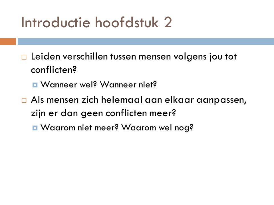 Introductie hoofdstuk 2  Leiden verschillen tussen mensen volgens jou tot conflicten?  Wanneer wel? Wanneer niet?  Als mensen zich helemaal aan elk