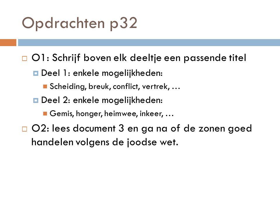 Opdrachten p32  O1: Schrijf boven elk deeltje een passende titel  Deel 1: enkele mogelijkheden: Scheiding, breuk, conflict, vertrek, …  Deel 2: enk