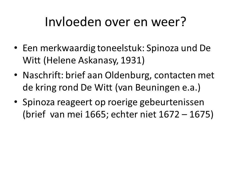 Spinoza's politieke filosofie ( vervolg) Doel van de staat: een veilig en voorspoedig leven (rechtvaardiging van De Witt's politiek?) Hoe het doel van de staat bereikt kan worden: Niet door recht alleen, wel door wetenschap, voorspoed en welvaart, tolerantie, vrije meningsuiting en verbetering van politieke inrichting; Spinoza's staatsopvatting is melioristsich, geen utopie