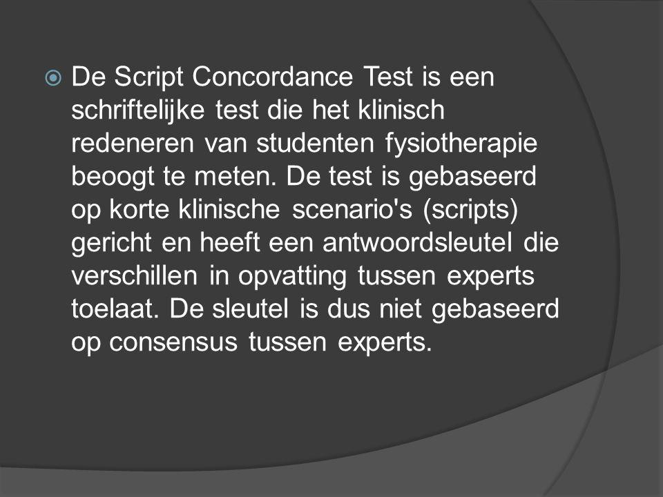  De Script Concordance Test is een schriftelijke test die het klinisch redeneren van studenten fysiotherapie beoogt te meten.