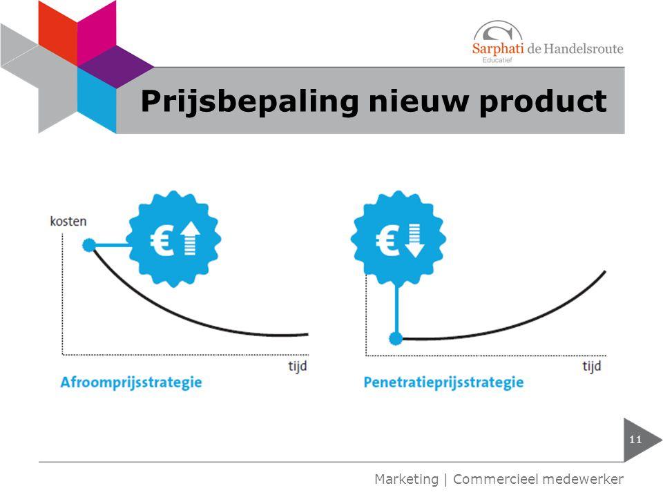 Prijsbepaling nieuw product 11 Marketing | Commercieel medewerker