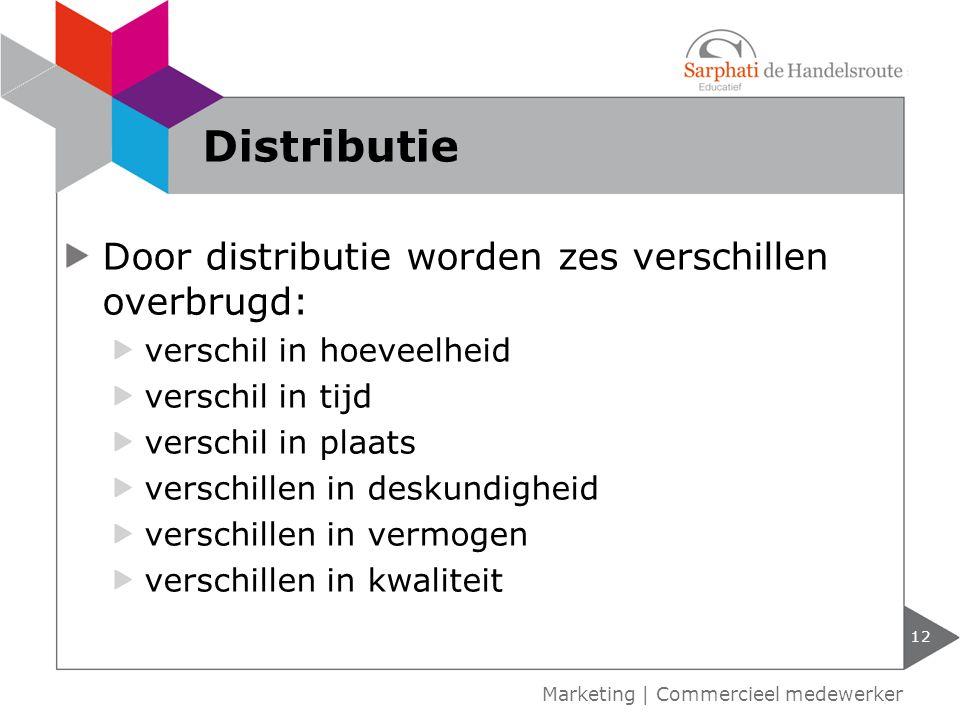 Door distributie worden zes verschillen overbrugd: verschil in hoeveelheid verschil in tijd verschil in plaats verschillen in deskundigheid verschille