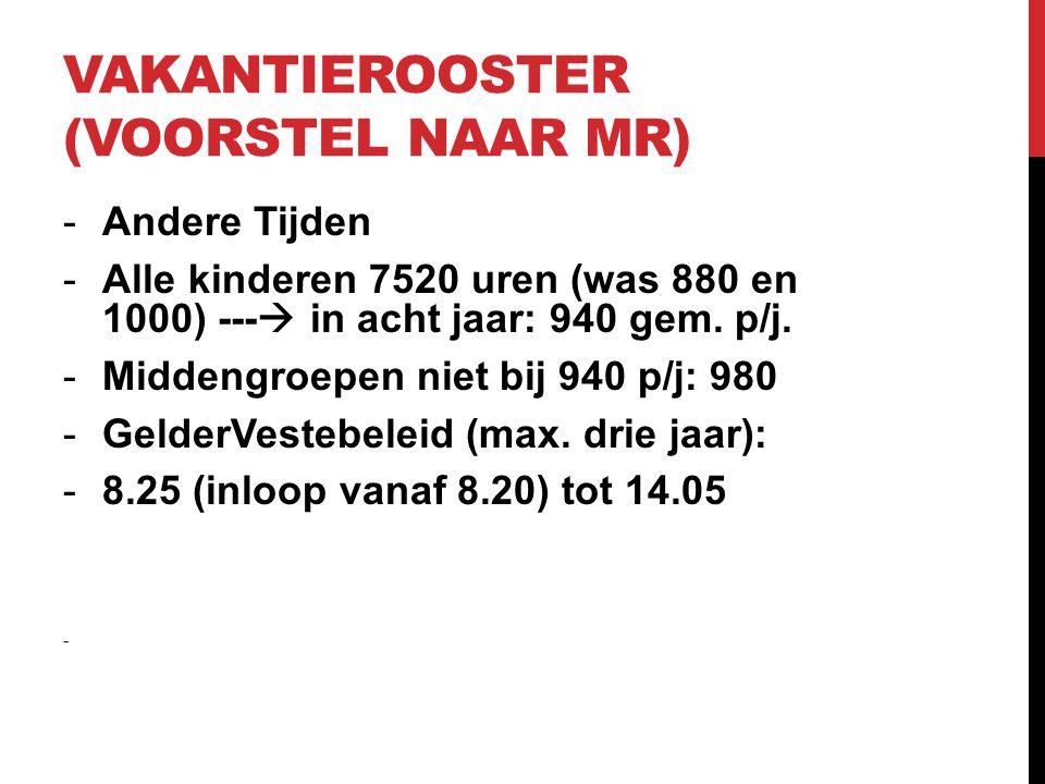 VAKANTIEROOSTER (VOORSTEL NAAR MR) -Andere Tijden -Alle kinderen 7520 uren (was 880 en 1000) ---  in acht jaar: 940 gem. p/j. -Middengroepen niet bij
