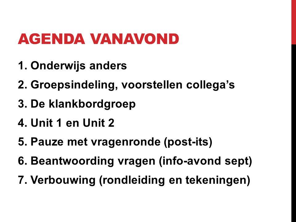 AGENDA VANAVOND 1. Onderwijs anders 2. Groepsindeling, voorstellen collega's 3. De klankbordgroep 4. Unit 1 en Unit 2 5. Pauze met vragenronde (post-i