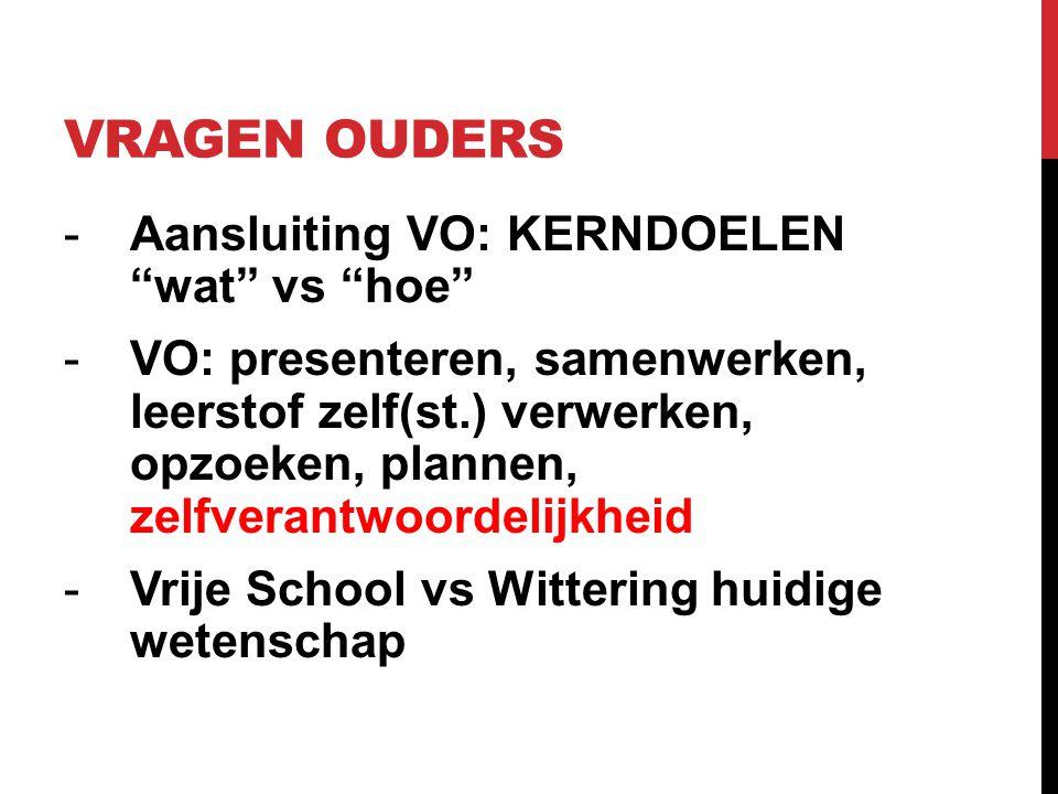 """VRAGEN OUDERS -Aansluiting VO: KERNDOELEN """"wat"""" vs """"hoe"""" -VO: presenteren, samenwerken, leerstof zelf(st.) verwerken, opzoeken, plannen, zelfverantwoo"""