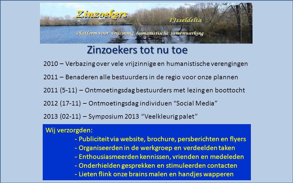 Zinzoekers tot nu toe 2010 – Verbazing over vele vrijzinnige en humanistische verengingen 2011 – Benaderen alle bestuurders in de regio voor onze plan